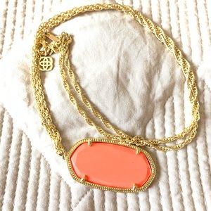 Coral and gold Rae long necklace
